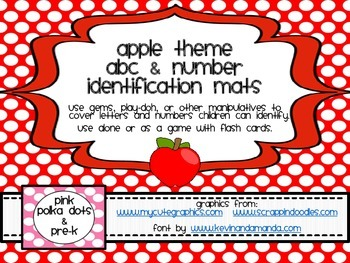Apple Theme ABC & Number Identification Mats (1 - 20)