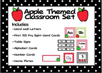 Apple Themed Class Decor: Word Wall, Alphabet, Numbers, Na