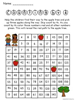 Fall Counting by 4 Activity