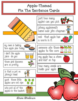 """Apple -Themed """"Fix the Sentence"""" Cards"""