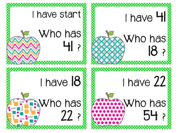 Apple Themed I have who has (Numbers)