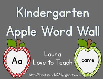 Apple Themed Kindergarten Word Wall