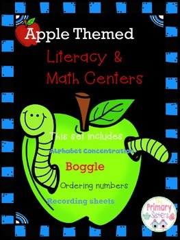 Apple Themed Literacy And Math Centers ABC's and 123's