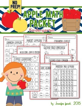 Apple Themed Math Packet: Kindergarten/NO PREP!
