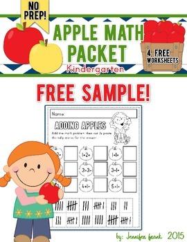 Apple Themed Math Packet Sampler:Kindergarten FREE!