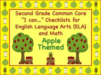 Apple Themed Second Grade Common Core Checklist (ELA) Lang