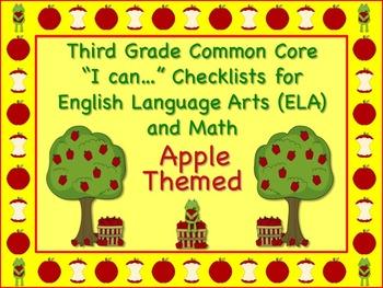 Apple Themed Third Grade Common Core Checklist (ELA) Langu
