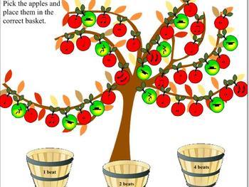 Apple Tree Beat Sorting SMART Board activity