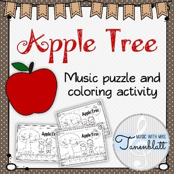 Apple Tree Folk Song Coloring and Puzzle Activity