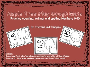 Apple Tree Play Dough Mats- Practice counting, writing, an