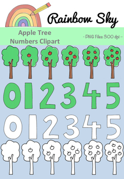Apple Trees Clipart  Numbers 0 - 5