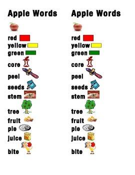 Apple Word Picture Sentence Helpers