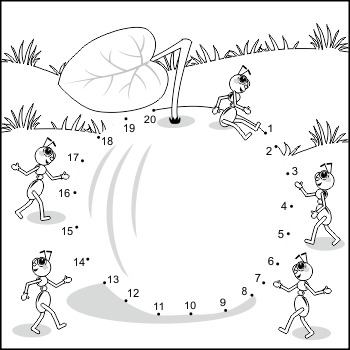 Apple and Ants Connect the Dots and Coloring Page, Commerc