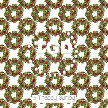 Apple and Berry Wreath on White digital paper Printable Tr