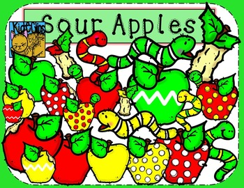 Apple and Worm Clip Art Back to School Kid-E-Clips Commerc