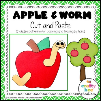 Apple and Worm Cut and Paste