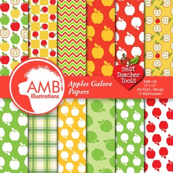 Digital Papers -  Apple scrapbooking papers, Apple picking