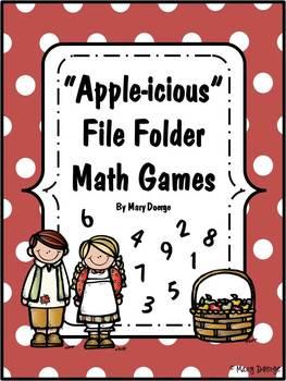 6 Kindergarten Apple-Themed File Folder Math Game Kits and