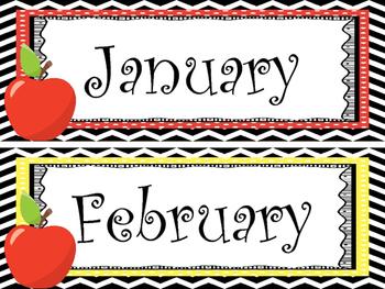 Apple themed Printable Month Classroom Bulletin Board Set.