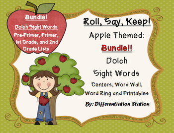 """BUNDLE! Apple """"Roll, Say, Keep!"""" Dolch Sight Word Center,"""