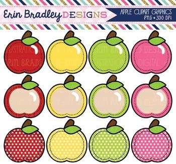 Apples Clipart - Digital Clip Art Graphics