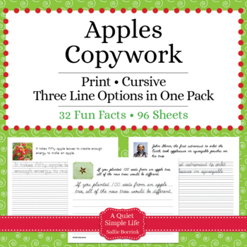 Apples - Print and Cursive - Copywork - Handwriting