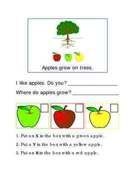 Apples Following Directions Comprehension Emergent Reader
