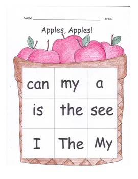 Apples High Frequency Words Center Game Sight Words RF.K.3