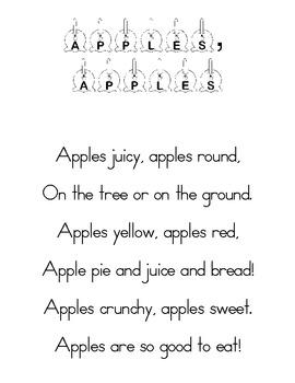Apples Poem for Poetry Binder