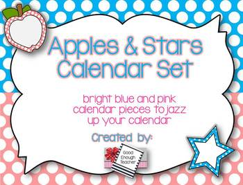 Apples & Stars Calendar Kit {Pink & Bright Blue version}
