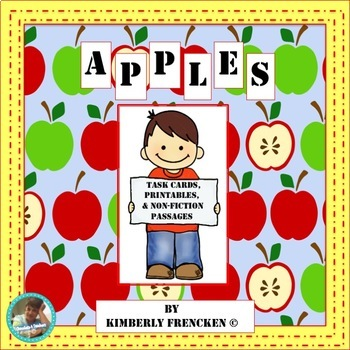 Apples: Task Cards, Nonfiction passages, Informational Tex