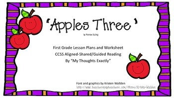 """""""Apples Three"""" Poem Shared Reading/Guided Reading Lesson Plan"""