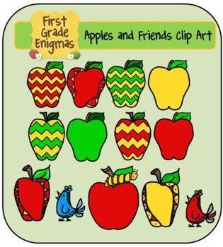 Apples and Friends Clip Art (apples, chevron apples, owls