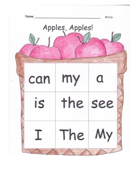 Apples and Pumpkins High Frequency Word Pack Printables Wo