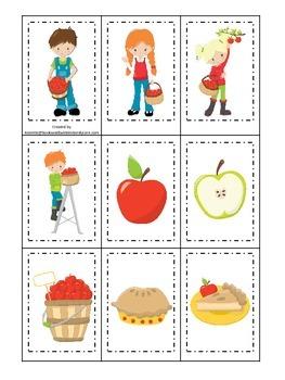 Apples themed Memory Matching preschool learning game.  Da