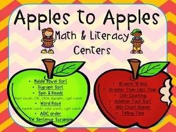 Apples to Apples BUNDLE (25 Kinder-1st grade activities)