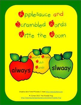 Applesauce & Scrambled Words Write the Room (Second Grade