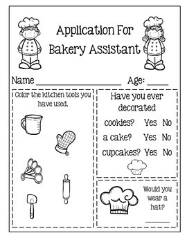 Application For Bakery Assistant ~ Creative Writing Activity