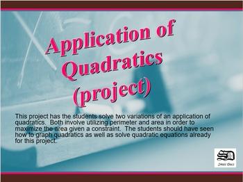 Application of Quadratics (project)