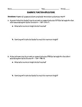Applications of Quadratic Functions Worksheet
