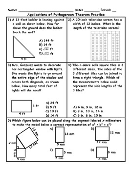 Printables Pythagorean Theorem Word Problems Worksheet pythagorean theorem word problems worksheet versaldobip worksheets with answers davezan