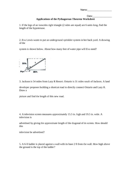 Printables Pythagorean Theorem Applications Worksheet applications of the pythagorean theorem by bridget clarke worksheet word problems