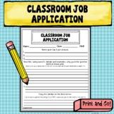 Apply for the Job! Classroom Job Application