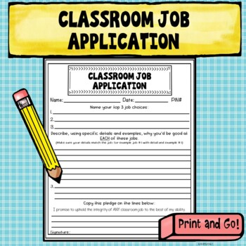 Apply for the Job! Classroom Job Application