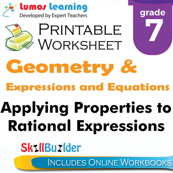 Applying Properties to Rational Expressions Printable Work