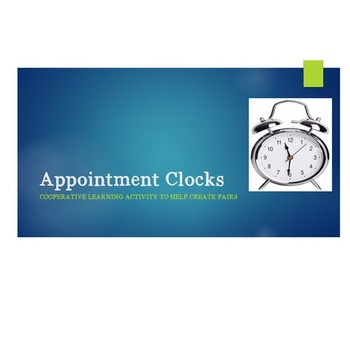 Appointment Clocks-Cooperative Learning Activity to Form Partners
