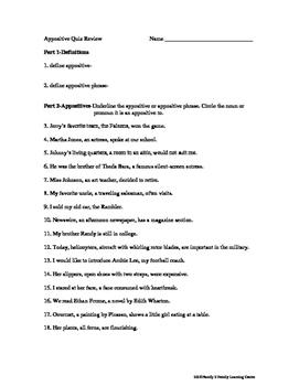 Appositive Quiz Review