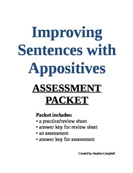 Appositive quiz packet - review and assessment