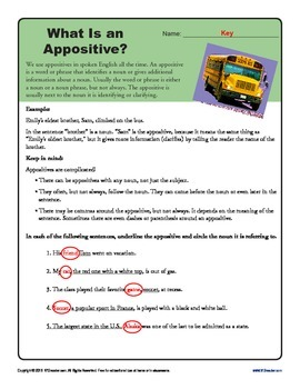 Appositives with Answer Key