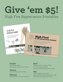 Appreciation printable, give 'em high five! Bosses, nurses